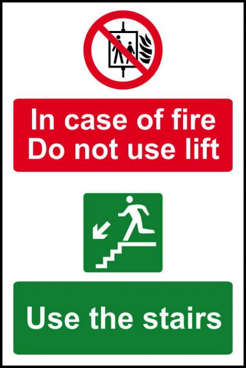 Self adhesive semi-rigid PVC In Case Of Fire Do Not Use The Lift/Use The Stairs sign (200 x 300mm). Easy to fix.