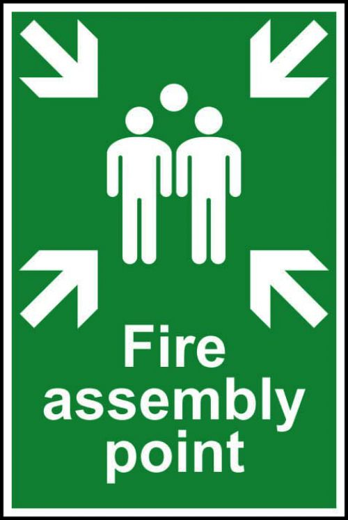 Self adhesive semi-rigid PVC Fire Assembly Point sign (200 x 300mm). Easy to fix; simply peel off the backing and apply to a clean dry surface.