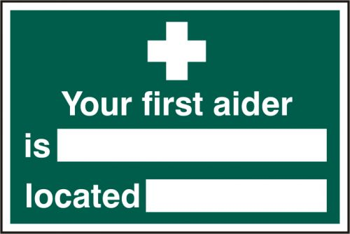 Self adhesive semi-rigid PVC Your First Aider Is/Located sign (300 x 200mm). Easy to fix; simply peel off the backing and apply to a clean dry surface