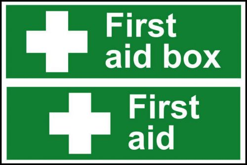 Self adhesive semi-rigid PVC First Aid Box/First Aid Sign (300 x 200mm). Easy to fix; simply peel off the backing and apply to a clean dry surface.