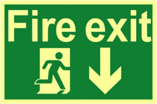 Fire Exit Sign with running man and arrow down (300 x 200mm). Made from 1.3mm rigid photoluminescent board (PHO) and is self adhesive.