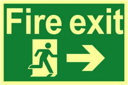 Fire Exit Sign with running man and arrow right (300 x 200mm). Made from 1.3mm rigid photoluminescent board (PHO) and is self adhesive.