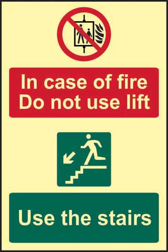 In Case Of Fire Do Not Use Lift Use The Stairs sign (200 x 300mm). Made from 1.3mm rigid photoluminescent board (PHO) and is self adhesive.