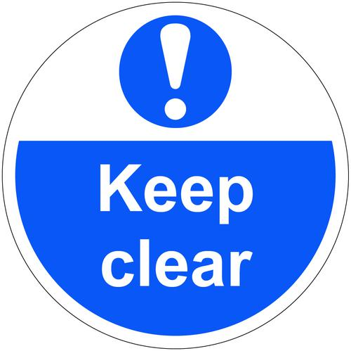 Keep Clear Floor Graphic adheres to most smooth clean flat surfaces and provides a durable long lasting safety message. 400mm dia.