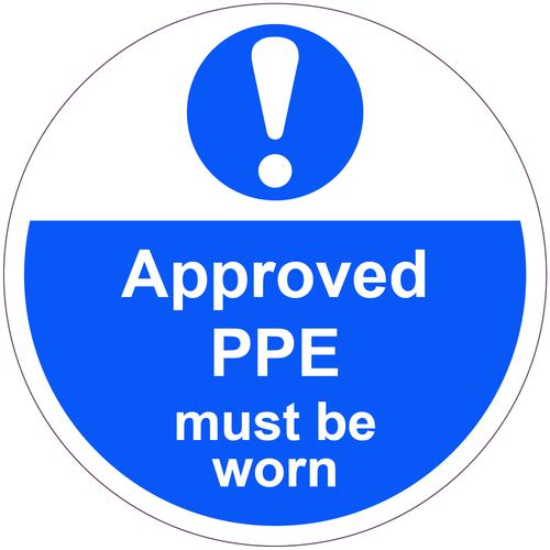 Approved PPE Must Be Worn Floor Graphic adheres to most smooth clean flat surfaces and provides a durable long lasting safety message. 400mm dia.