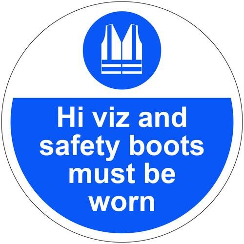 Hi Viz And Safety Boots Must Be Worn Floor Graphic adheres to most smooth clean flat surfaces and provides a durable lasting safety message 400mm dia.