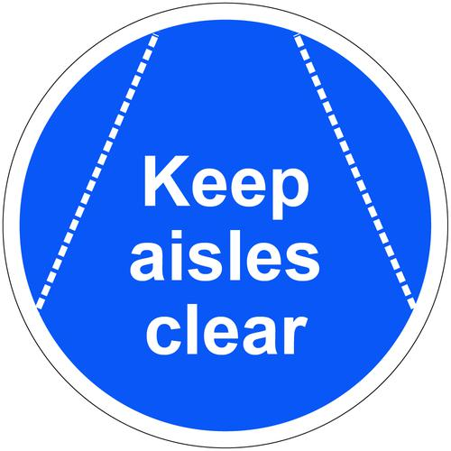 Keep Aisles Clear Floor Graphic adheres to most smooth clean flat surfaces and provides a durable long lasting safety message. 400mm dia.