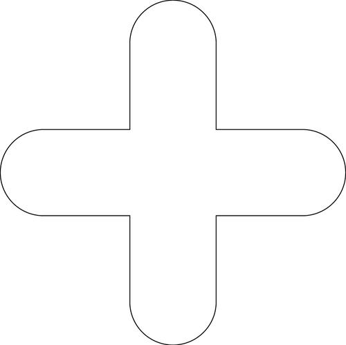 """White Symbol """"+"""" Floor Graphic adheres to most smooth clean flat surfaces and provides a durable long lasting safety message. 300x300mm pack Of 10"""