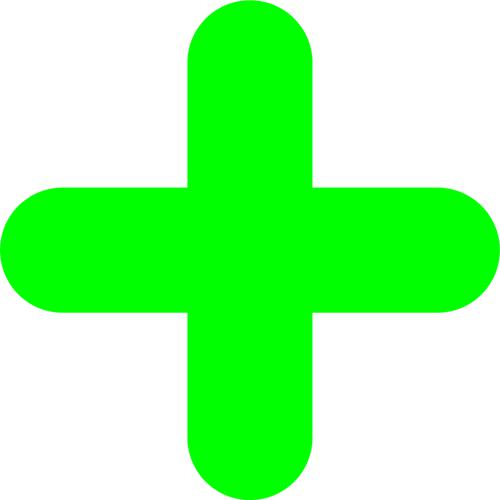 """Green Symbol """"+"""" Floor Graphic adheres to most smooth clean flat surfaces and provides a durable long lasting safety message. 300x300mm pack Of 10"""