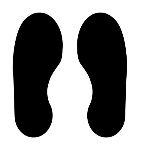 Black Footprints Floor Graphic adheres to most smooth clean flat surfaces and provides a durable long lasting safety message. 300x100mm 5 Pairs