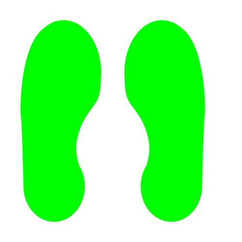 Green Footprints Floor Graphic adheres to most smooth clean flat surfaces and provides a durable long lasting safety message. 300x100mm 5 Pairs