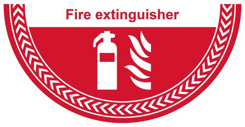 Fire Extinguisher Floor Graphic adheres to most smooth clean flat surfaces and provides a durable long lasting safety message. 750x375mm