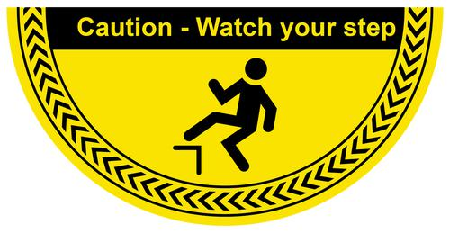Caution Watch Your Step Floor Graphic adheres to most smooth clean flat surfaces and provides a durable long lasting safety message. 750x375mm