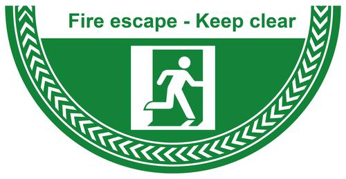 Fire Escape Keep Exit Clear Floor Graphic adheres to most smooth clean flat surfaces and provides a durable long lasting safety message. 750x375mm