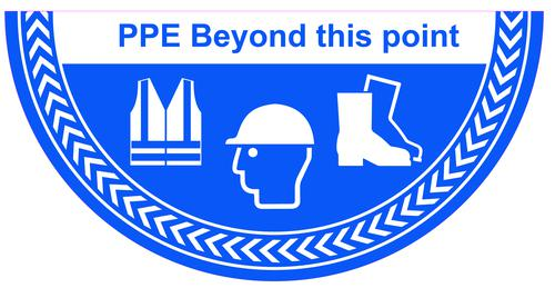 PPE Beyond This Point Floor Graphic adheres to most smooth clean flat surfaces and provides a durable long lasting safety message. 750x375mm