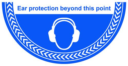 Ear Protection Beyond This Point Floor Graphic adheres to most smooth clean flat surfaces and provides a durable long lasting safety message 750x375mm