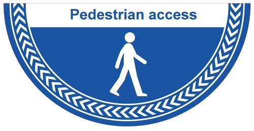Pedestrian Access Floor Graphic adheres to most smooth clean flat surfaces and provides a durable long lasting safety message. 750x375mm