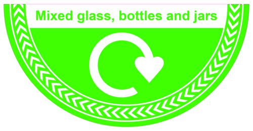 Mixed Glass Bottles And Jars Floor Graphic adheres to most smooth clean flat surfaces and provides a durable long lasting safety message. 750x375mm