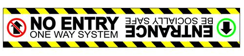 No Entry One Way System Floor Graphic adheres to most smooth clean flat surfaces and provides a durable long lasting safety message. 600x100mm