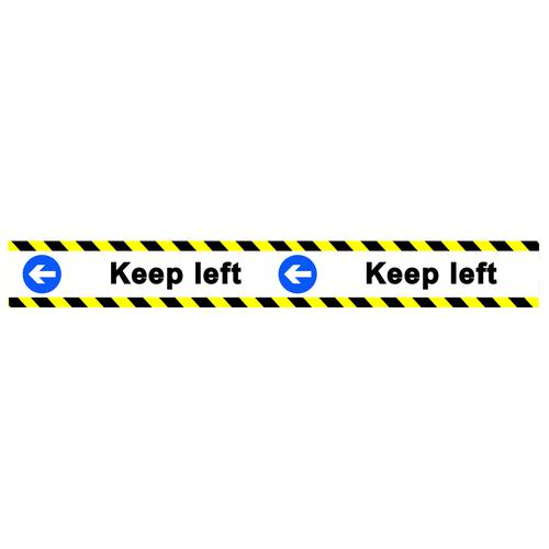 Keep Left Floor Graphic adheres to most smooth clean flat surfaces and provides a durable long lasting safety message. 800x100mm
