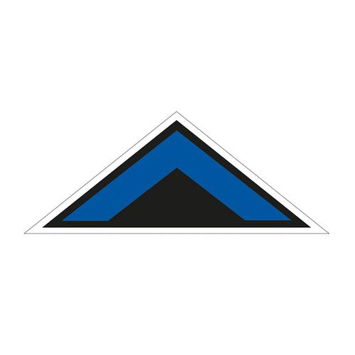 Arrow Chevron Symbol Floor Graphic adheres to most smooth clean flat surfaces. Provides a durable long lasting safety message. 800 x 320mm; blue/black