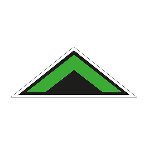 Arrow Chevron Symbol Floor Graphic adheres to most smooth clean flat surfaces. Provides a durable long lasting safety message. 500x200mm; green/black