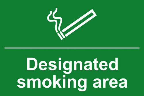 Self adhesive semi-rigid PVC Designated Smoking Area Sign (300 x 200mm). Easy to fix; simply peel off the backing and apply to a clean dry surface.