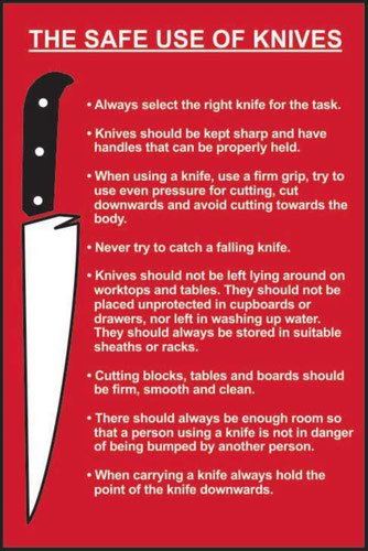The Safe Use Of Knives' Sign; Self-Adhesive Semi-Rigid PVC (200mm x 300mm)