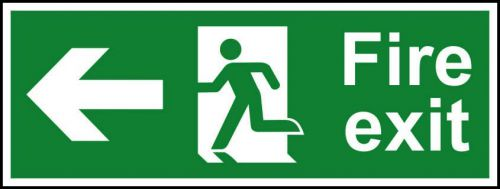 Self adhesive semi-rigid PVC Fire Exit Sign with running man and arrow up (400x150mm). Easy to fix; peel off the backing; apply to clean dry surface.