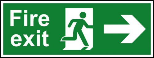 Self adhesive semi-rigid PVC Fire Exit Sign. Running man and arrow right (400x150mm). Easy to fix; peel off the backing; apply to a clean dry surface.