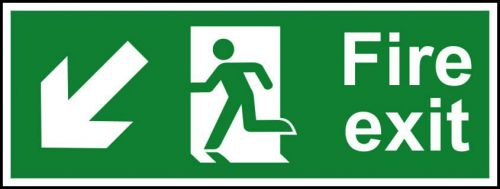 Self adhesive semi-rigid PVC Fire Exit Sign. Running man, arrow down left (400x150mm). Easy to fix, peel off the backing, apply to clean dry surface.