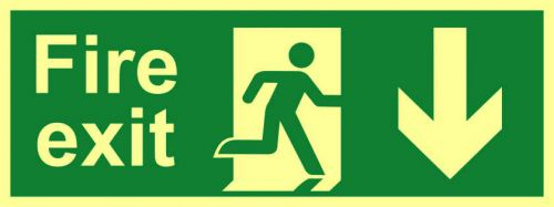 Fire Exit Sign with running man and arrow down (400 x 150mm). Made from flexible photoluminescent board (PHS).