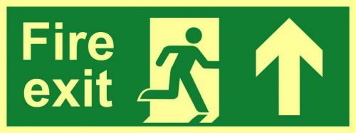 Fire Exit Sign with running man and arrow up (400 x 150mm). Made from flexible photoluminescent board (PHS).