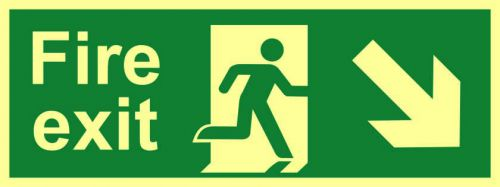 Fire Exit Sign with running man and arrow down right (400 x 150mm). Made from flexible photoluminescent board (PHS).