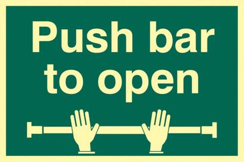 Push Bar To Open' Sign; Flexible Photoluminescent Vinyl (300mm x 200mm)