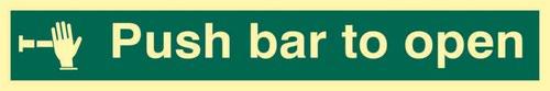 Push Bar To Open' Sign; Flexible Photoluminescent Vinyl (300mm x 100mm)