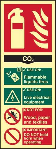 Fire Extinguisher CO2' Sign; Flexible Photoluminescent Vinyl (82mm x 202mm)