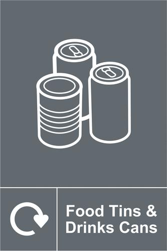 Self-adhesive vinyl Food Tins and Drinks Cans Recycling Sign (150 x 200mm). Easy to use; simply peel off the backing and apply to a clean dry surface.