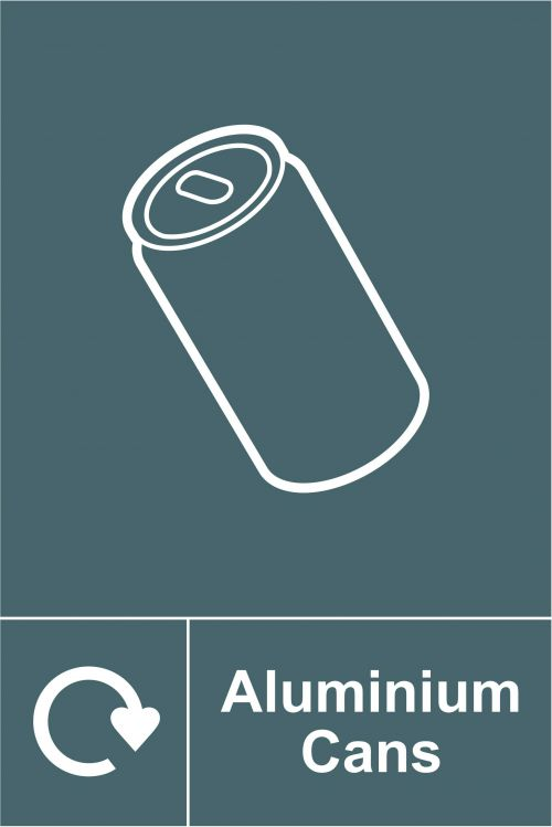 Aluminium Cans Recycling Sign (150 x 200mm). Manufactured from strong rigid PVC and is non-adhesive, 0.8mm thick.