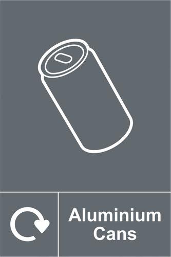Aluminium Cans Recycling' Sign; Rigid 1mm PVC Board (200mm x 300mm)