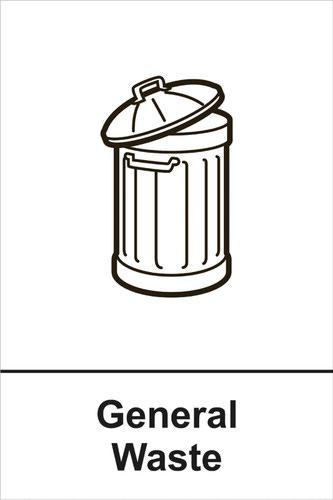 General Waste' Recycling Sign; Rigid 1mm PVC Board (200mm x 300mm)