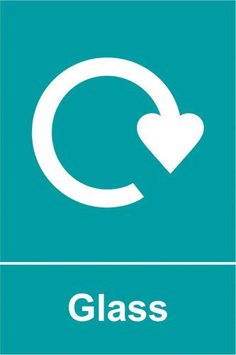 Glass Recycling' Sign; Self-Adhesive Vinyl (200mm x 300mm)