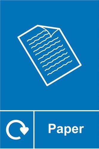 Paper Recycling' Sign; Rigid 1mm PVC Board (200mm x 300mm)
