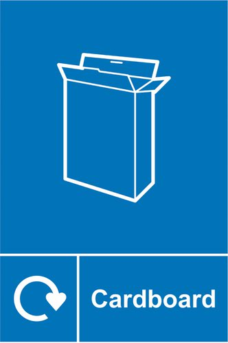 Cardboard Recycling Sign (150 x 200mm). Manufactured from strong rigid PVC and is non-adhesive; 0.8mm thick.