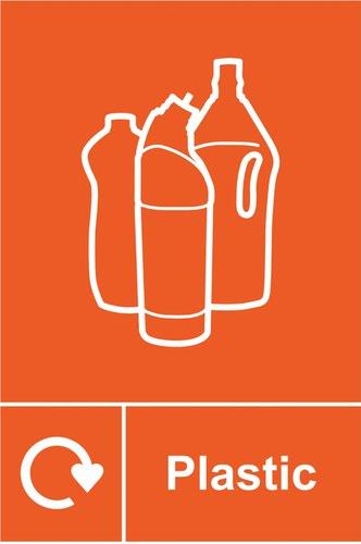 Plastic Recycling' Sign; Rigid 1mm PVC Board (200mm x 300mm)