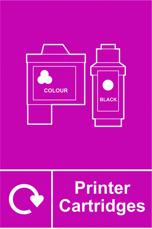 Printer Cartridges Recycling Sign (150 x 200mm). Manufactured from strong rigid PVC and is non-adhesive, 0.8mm thick.