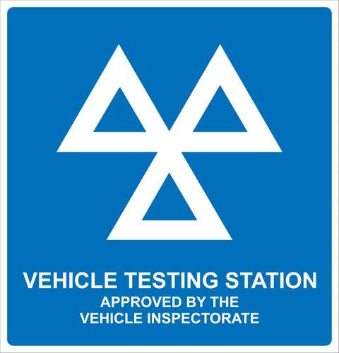 MOT Vehicle Testing Station' Sign; Rigid PVC Board (625mm x 600mm)