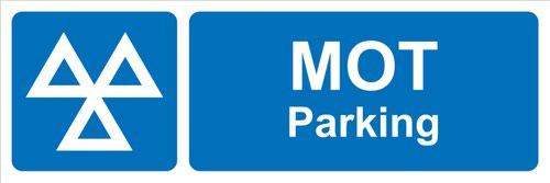 MOT Parking' Sign; Rigid PVC Board (600mm x 200mm)