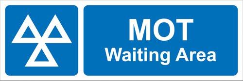 MOT Waiting Area' Sign; Rigid PVC Board (600mm x 200mm)