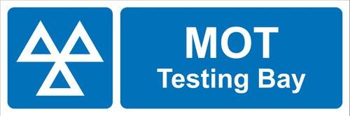MOT Testing Bay' Sign; Rigid PVC Board (600mm x 200mm)